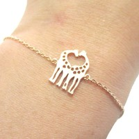 Kissing Giraffe Animal Shaped Silhouette Charm Bracelet in Rose Gold | DOTOLY