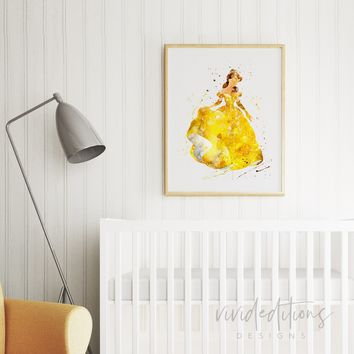 Belle 5, Beauty and the Beast Watercolor Art Print
