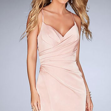 Ruched Short V-Neck Homecoming Dress with Open Back