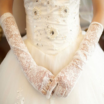 Wedding Gloves Long with Lace Finger
