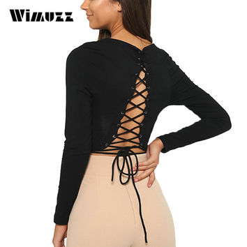 Wimuzz Sexy Strappy Crop Top Women Long Sleeve Lace Up T Shirt Bustier Backless Short Cropped Black Tank Tops