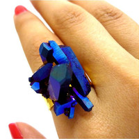 Titanium Quartz Cobalt Blue Rainbow Aura Crystal Druzy Ring by AstralEYE