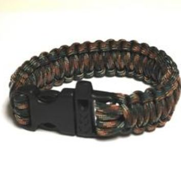 Survival Bracelet w/Whistle - Dark Grn C