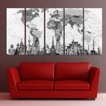 Extra large push pin world Map wall art print canvas, fine art print balck and white Living room and office decor, 9s43