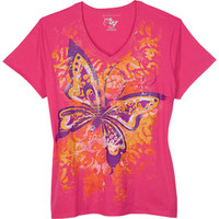 Walmart: Just My Size by Hanes Women's Plus-Size Watercolor Graphic V-Neck Tee