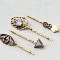 AEO Women's Gold & Opal Bobby Pins (Gold)