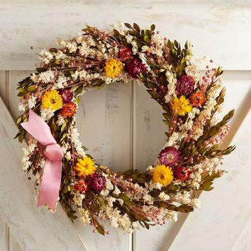 "Preserved Zinnia & Myrtle 18"" Wreath"