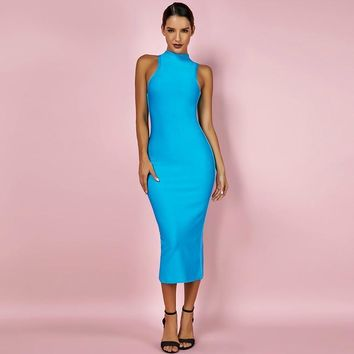 Blue High Neck Sleeveless Bandage dress