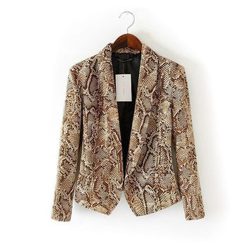 Long Sleeve Open Front Notched Collar Snake Print Blazer