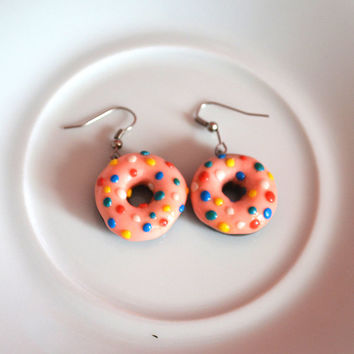 Strawberry Sprinkles Donut Food Snack Sweets Polymer Clay Earrings