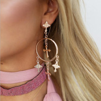 Fashion women sexy earring round cross tassel earring