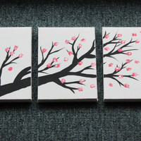 3 Canvas Cherry Blossom Painting 5 x 7