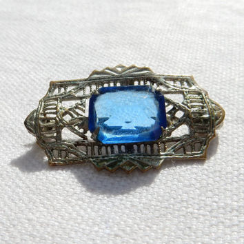 Art Deco Brooch Petite Blue Crystal Brooch Antique Crystal Brooch Something Old Something Blue