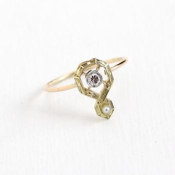 Sale - Antique Art Deco 10k Yellow Gold Diamond & Pearl Ring - Vintage 1910s 1920s Sti