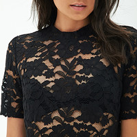 FOREVER 21 Sheer Lace Top Black