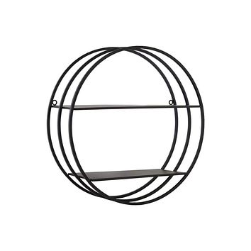2 Tier Round Shaped Wall Shelf In Metal, Black-43814