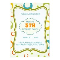 Colorful Green Frame Pattern Birthday Invitation