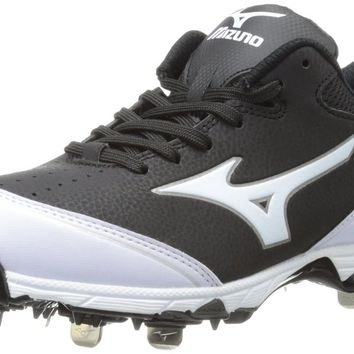 Mizuno Women's 9-Spike Select Softball Cleat,Black/White,8.5 M US