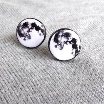 CREYN3C Moon Stud Earrings, Pastel Goth Grunge Boho Jewelry, Boho Chic Hippie Outer Space Bohemian Jewelry, Gypsy Moon Earrings, Science Jewelry