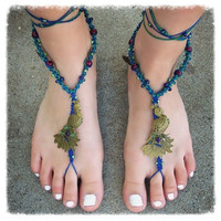 Handmade Peacock Natural Hemp Barefoot Sandals