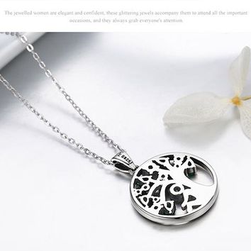 925 Sterling Silver Tree of Life Pendant Necklace Clear Grean CZ