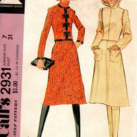 McCall's 2931 Sewing Pattern 70s Designer Style Fashion Hooded Jacket Mandarin Collar A-line Skirt Suit Uncut FF Bust 31