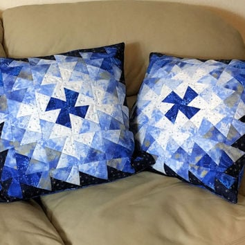 Set of Two Quilted Throw Pillows - 18 inch Blue Silver White Twister Christmas Pillows, Quiltsy Handmade Patchwork Quilts