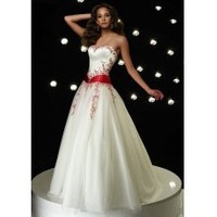 [US$202.99] Elegant White Princess Ball Gown Red Sash Embroidery Quinceanera Dress
