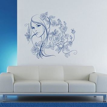 ik1913 Wall Decal Sticker face makeup girl flowers hairdressing salon