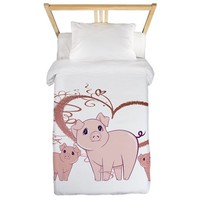 HOGS AND KISSES CUTE PIGGIES ART TWIN DUVET