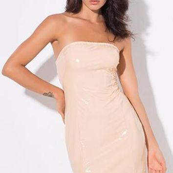 True Exhibitionist Nude Faux Leather PU Latex Look Strapless Tube Bodycon Mini Dress