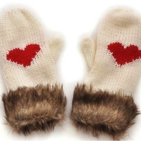 Handmade wool gloves knitted short gloves cute fur