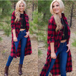 Lumberjill Plaid Cardigan - Red