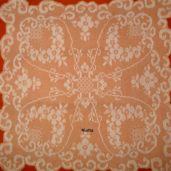 Pattern Tablecloth Crochet Filet Doily Houseware Chart Square Carre PDF Instant download Niatta