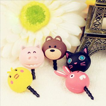 cut animal dust plug bear cat pig chicken rabbit plug cell phone accessories