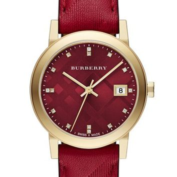 Women's Burberry 'New Classic' Diamond Index Leather Strap Watch, 34mm