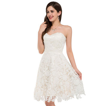 Ivory Vintage Lace Short Wedding Dresses Beach Style Bridal Gowns Bride Wedding Dress Robe de Mariee 6126