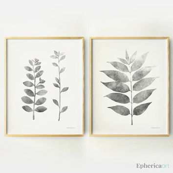 Set 2 Grey leaves and branches wall posters Black and white wall art DIY Printable home decor wall print Living room decor Botanical artwork
