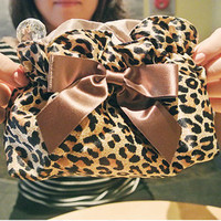 Fashion leopard grain cosmetic bag Lovely bow bag