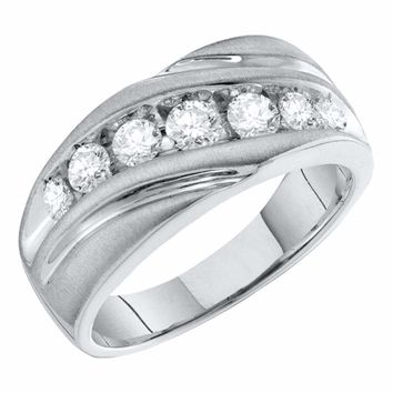 10kt White Gold Mens Round Channel-set Diamond Single Row Wedding Band Ring 1.00 Cttw