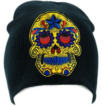 Day of the Dead Yellow Sugar Skull Beanie Knit Cap Alternative Clothing Halloween