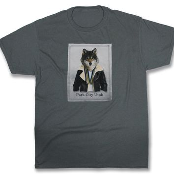 Scout: Wolf in a Leather Jacket, Charcoal Grey
