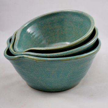 Set of Three Aqua Green Nesting Batter Bowls with Handles Stoneware Pottery