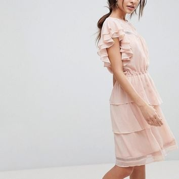 Y.A.S Ruffle Skater Dress With Lace at asos.com