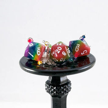 Rainbow D20 and D10 Dice Earrings and Necklace Set - Tabletop Gaming Jewelry with Swarovski Crystal Accents