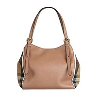 ONETOW Tote Bag Handbag Authentic Burberry Small Canter in Leather and House Darksand Made in Italy