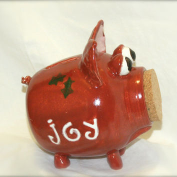 Holly - Red Ceramic Piggy Bank - Hand Thrown Stoneware Pottery - CIJ