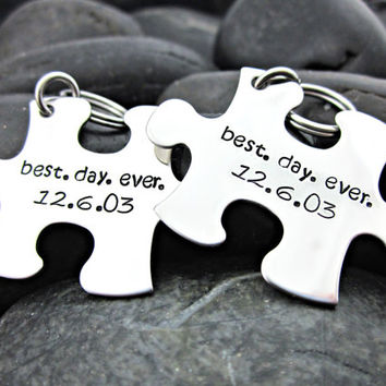 Best. Day. Ever.  - Anniversary / Wedding Date - Interlocking Puzzle Piece Keychains