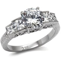 Princess Round Brilliant Cut CZ Stainless Steel Engagement Ring