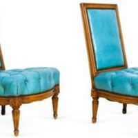One Kings Lane - Kelly Wearstler: Modern Glamour - Low Turquoise Chairs, Pair